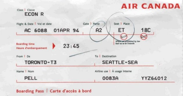 Kurt Cobain Final Autograph Airplane Ticket 1994 Seattle Sea-Tac