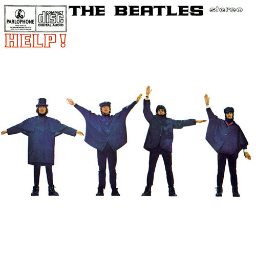 The Beatles album cover and movie poster for Help! features the group with