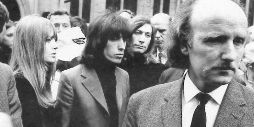 Bill Wyman Charlie Watts Brian Jones Funeral July 10, 1969 Bob Dylan
