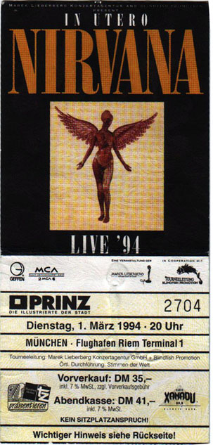 Nirvana Terminal 1 Germany Last Show Ticket Pass 1994