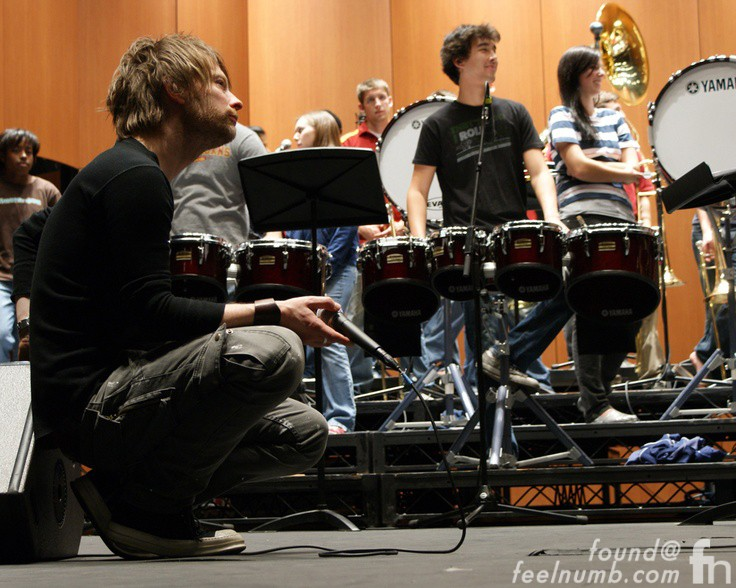 Thom Yorke Rehearsal USC Marching Band Grammy Awards 2009 Radiohead