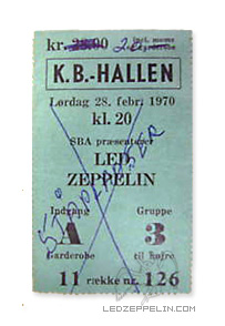 Led Zeppelin The Nobs Copenhagen 1970 Denmark