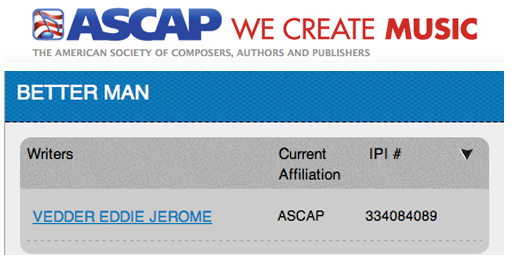 Eddie Vedder Pearl Jam ASCAP Better Man Writing Credit Bad Radio