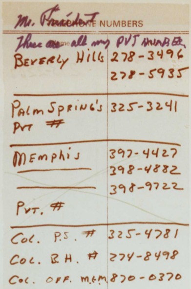 Elvis Presley Phone Numbers Richard Nixon