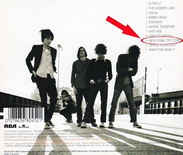 The Strokes Is This It International Back Cover New York City Cops