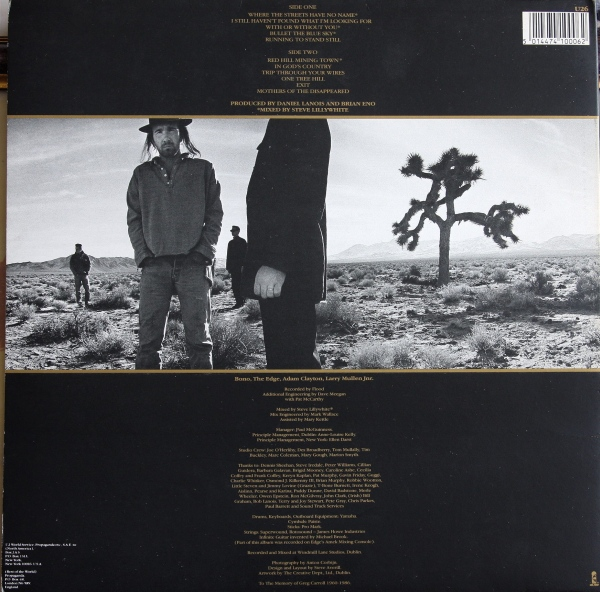 U2 The Joshua Tree Back Album Cover