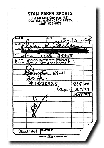 Kurt Cobain Shot Gun Receipt Stan Baker Sports