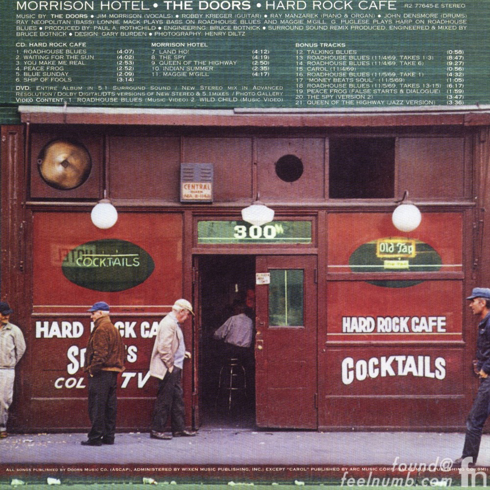 The Doors Morrison Hotel Back Cover Hard Rock Cafe