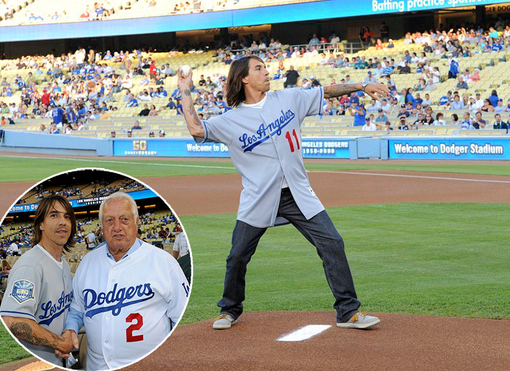 Anthony Kiedis Red Hot Chili Peppers Los Angeles Dodgers First Pitch