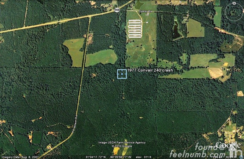 Lynyrd Skynyrd 1977 Convair Crash Site Mississippi Google Location