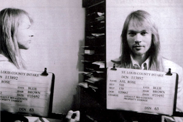 Axl Rose Mugshot Guns N' Roses St. Louis County