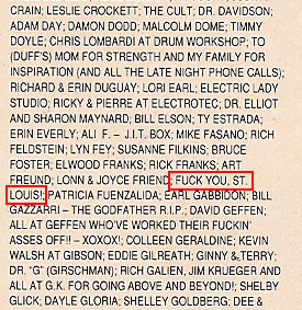 Guns N' Roses Fuck You St. Louis Use Your Illusion Album Credits Thank You