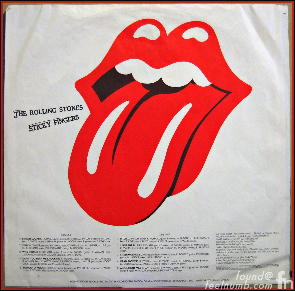 Rolling Stones Sticky Fingers Album Insert Tongue