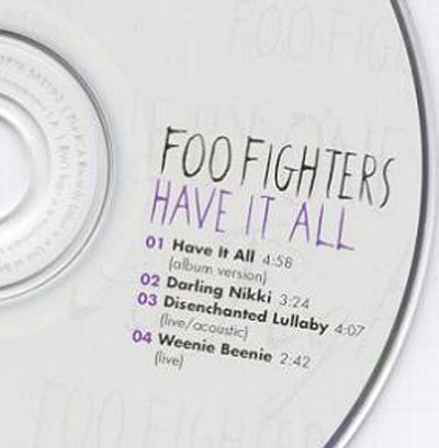 Prince Foo Fighters Have It All Single Darling Nikki