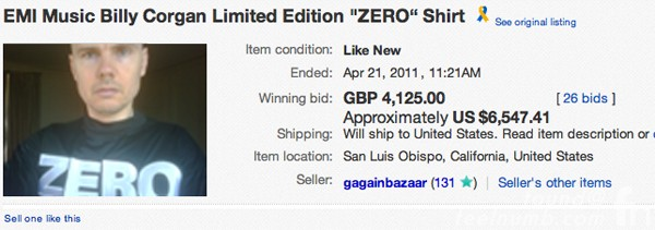 Billy Corgan Smashing Pumpkins Zero Shirt Auction Ebay