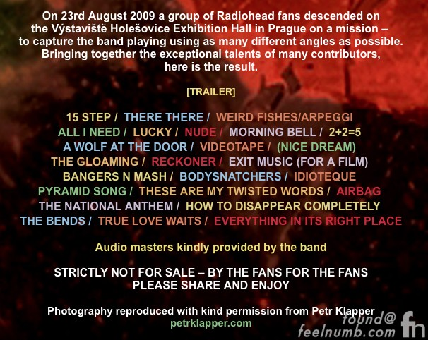 Radiohead Live DVD Prague Audio Soundboard