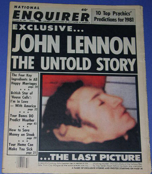 John Lennon Autopsy Photos John lennon national enquirer