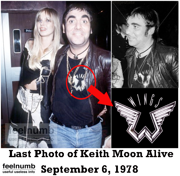 Last Photo of Keith Moon Alive The Who Paul McCartney Wings Shirt September 6, 1978