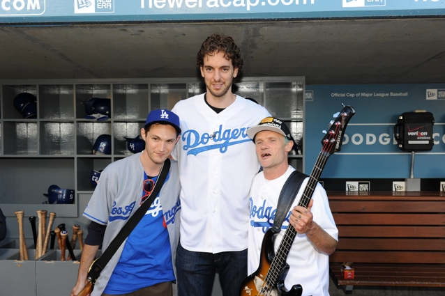 Flea Josh Klinghoffer Dodgers National Anthem Pau Gasol Red Hot Chili Peppers