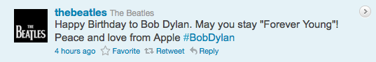 The Beatles Twitter Happy Birthday To Bob Dylan