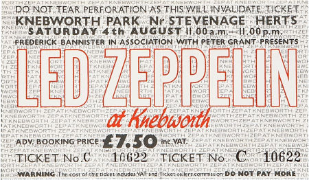 Led Zeppelin Knebworth Ticket August 4, 1979 Backstage