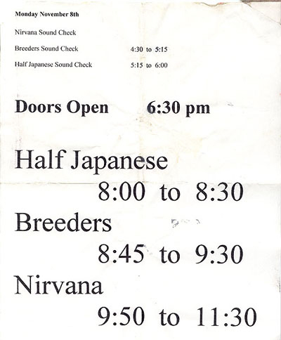Nirvana Half Japanese Tour Nirvana In Utero 1993