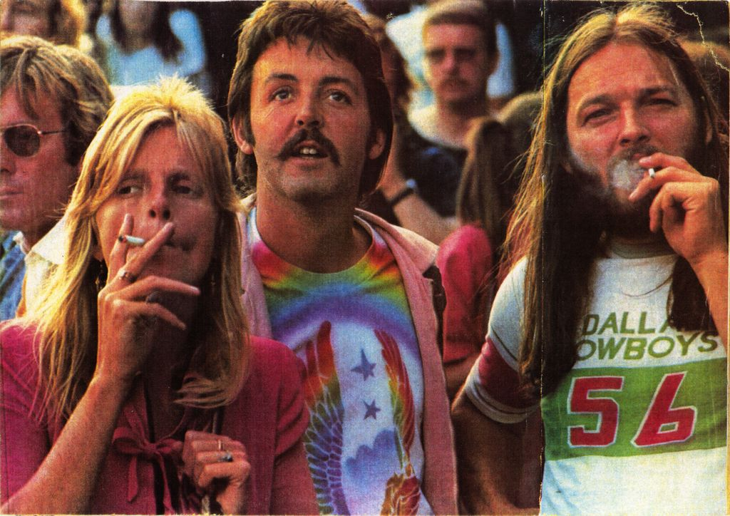 Paul McCartney Linda David Gilmour Smoking Joint Pink Floyd The Beatles Knebworth 1976