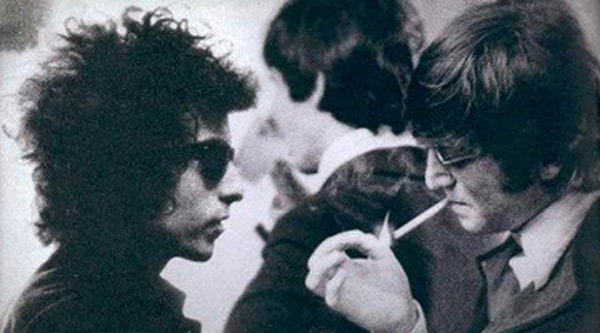 John Lennon Bob Dylan Smoking Backstage