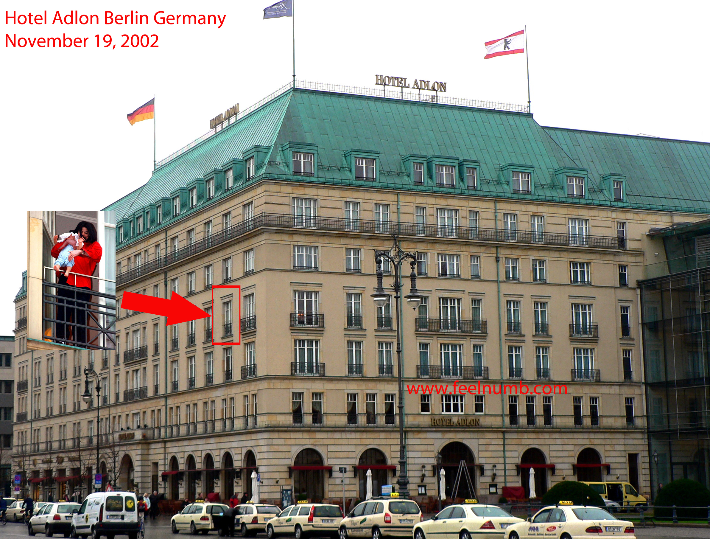 Hotel Adlon Berlin Germany Michael Jackson Blanket Jackson Balcony 2002