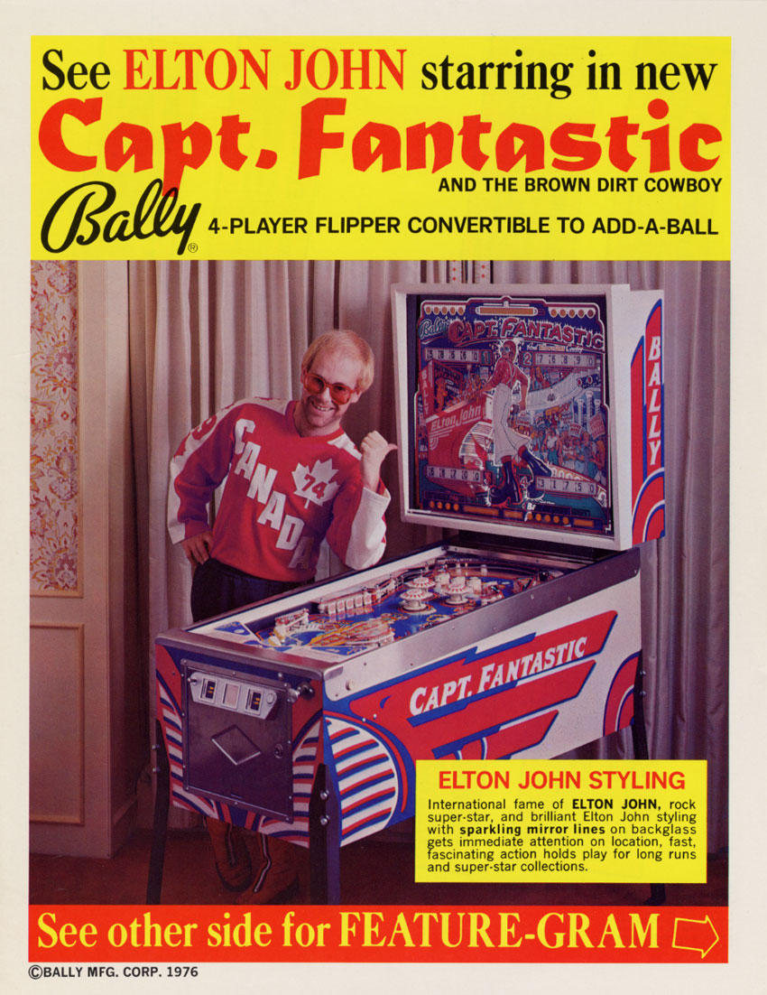 Elton John Captain Fantastic Pinball Machine