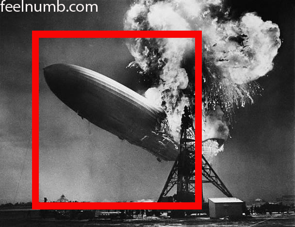 Led Zeppelin I Album Cover Hindenburg Crash Disaster