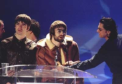 Oasis 1996 Brit Awards Noel Gallagher Michael Hutchence