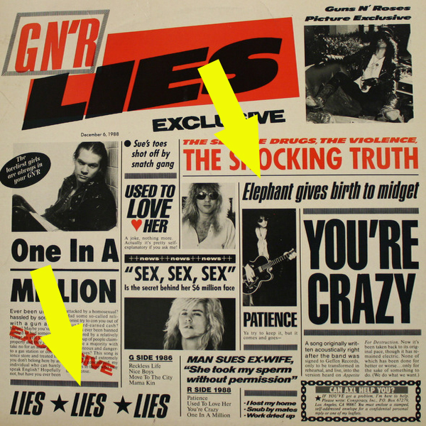 Guns N' Roses Lies EP Censored Album Cover
