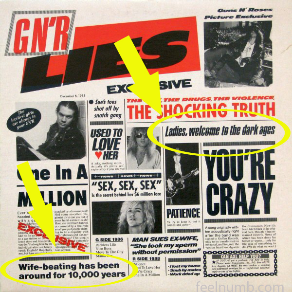 Guns N' Roses GN'R Lies uncensored album cover