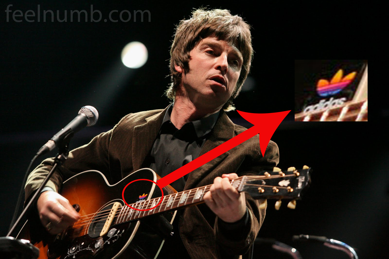 noel gallagher s gibson j 200 with the adidas sticker. Black Bedroom Furniture Sets. Home Design Ideas