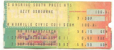 Ozzy Osbourne Knoxville Ticket Stub March 18, 1982 Randy Rhoads Last Show
