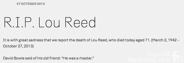 David Bowie On The Death of Lou Reed