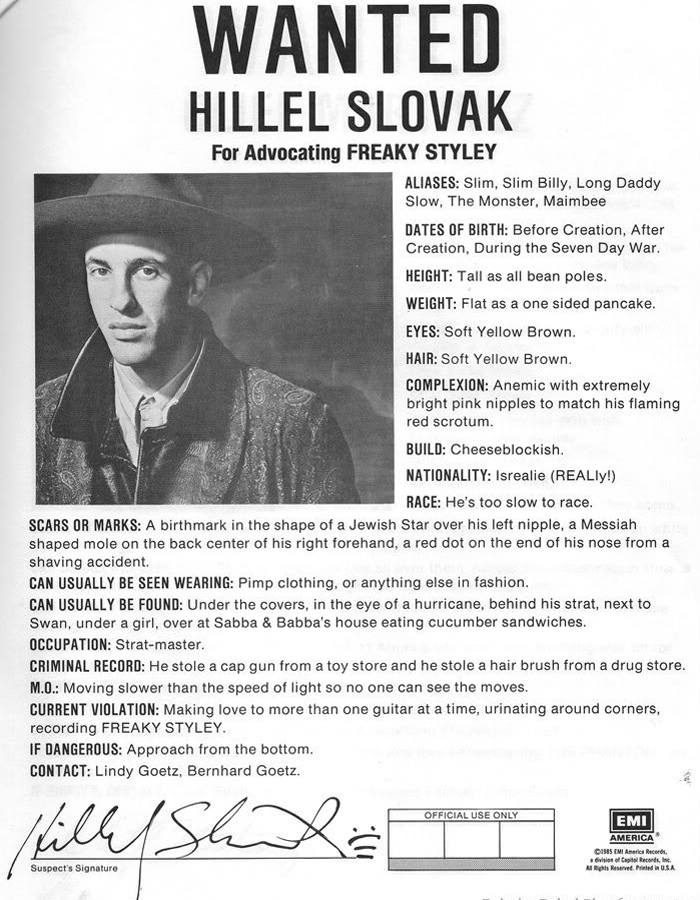 Hillel Slovak Red Hot Chili Peppers Freaky Styley Wanted Ad