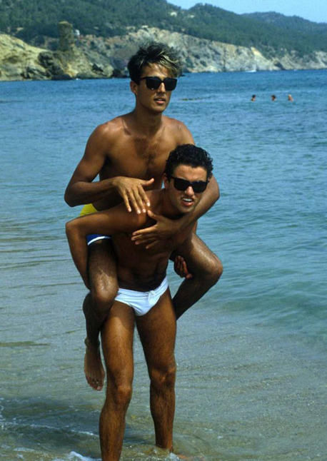 George Michael Andrew Ridgley Beach Piggyback Speedo Photo