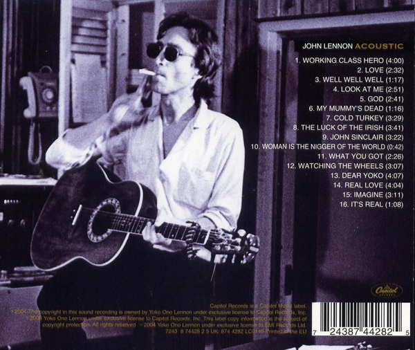 John Lennon Acoustic Album Cover Back Photo Ovation Guitar