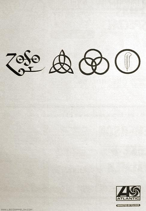 ZOSO Led Zeppelin IV Symbols Advertisement 1971