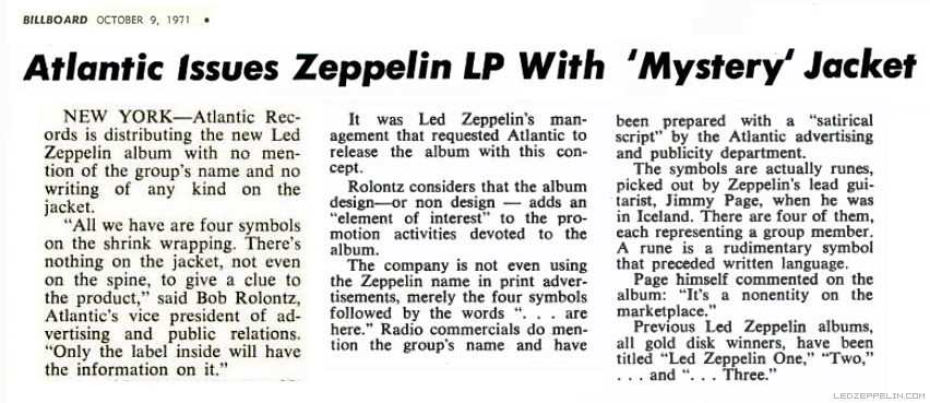 Led Zeppelin IV Billboard Magazine Article ZOSO Mystery