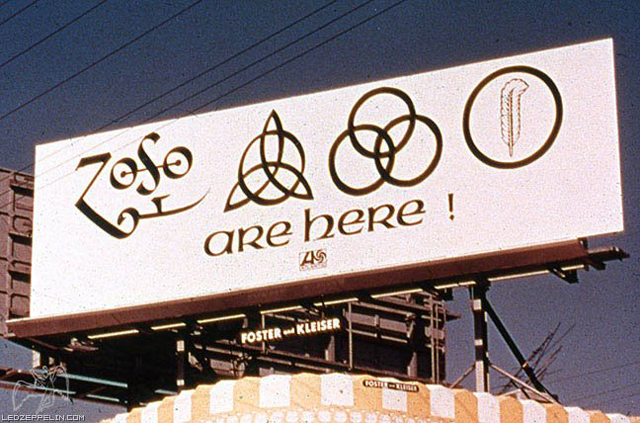 Led Zeppelin IV Billboard Symbols Ad Sunset Blvd Hollywood Cakifornia