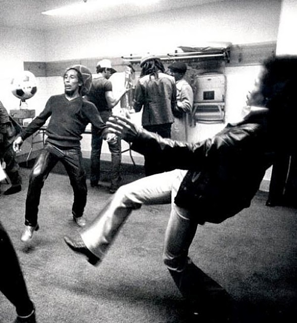 Bob Marley Jimi Hendrix Soccer Backstage Photo