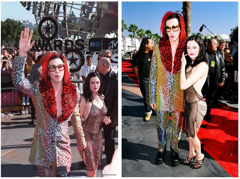 Marilyn Manson 1998 MTV Movie Awards Rose McGowan Dress