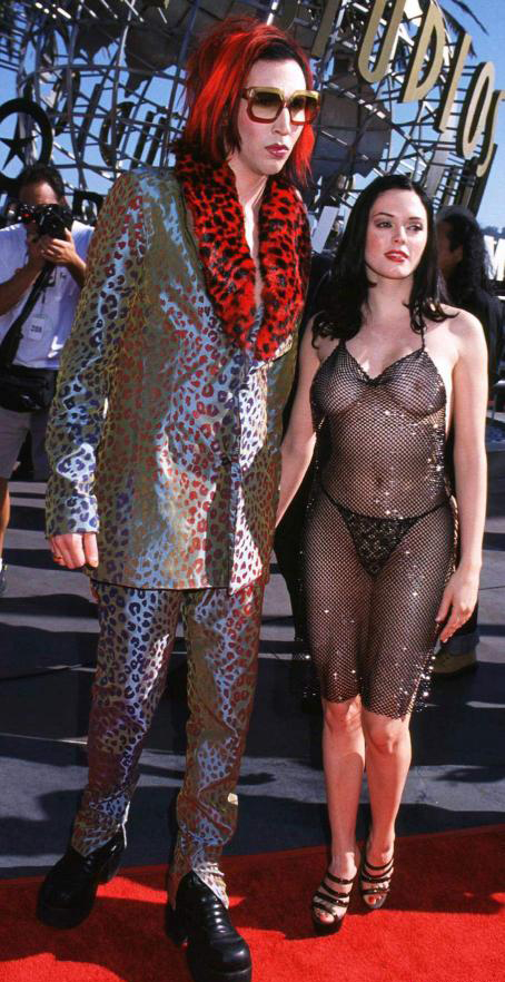 Marilyn Manson Rose McGowan 1998 MTV Movie Awards See Through Dress