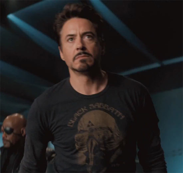 Robert Downey Jr. The Avengers Black Sabbath Shirt Iron Man