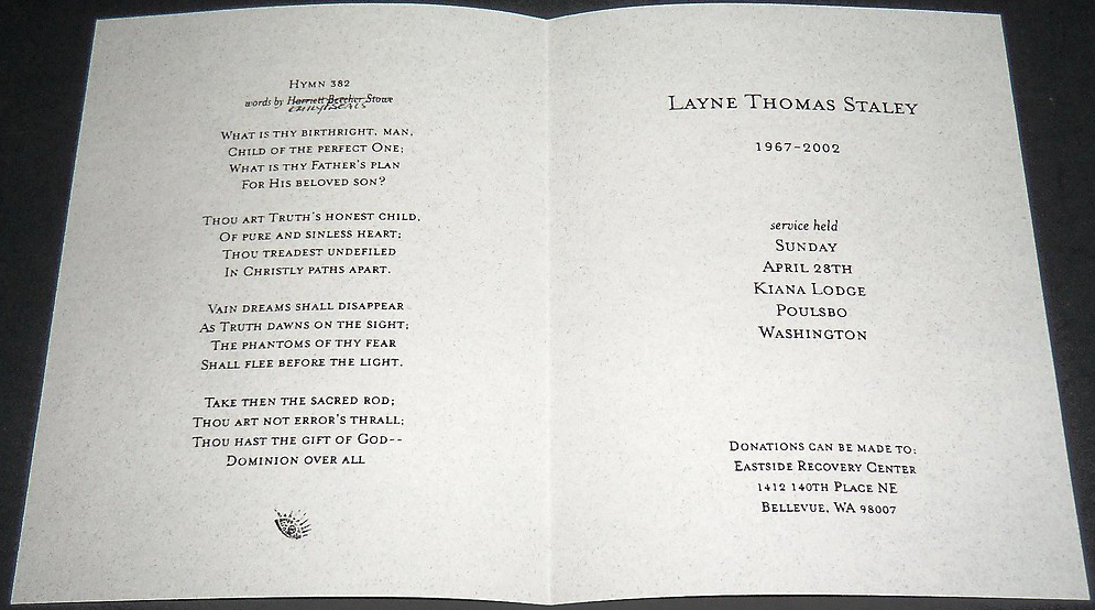 Layne Staley Funeral Program April 28, 2002
