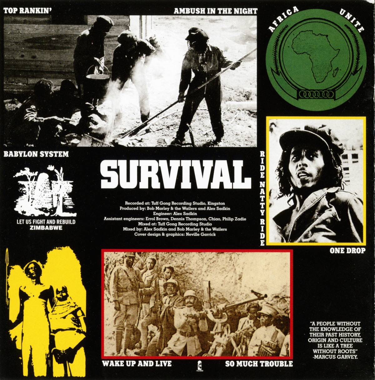 Bob Marley & The Wailers Survival Album Back Cover