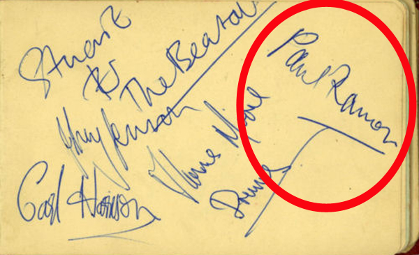 Paul McCartney Autograph As Paul Ramon
